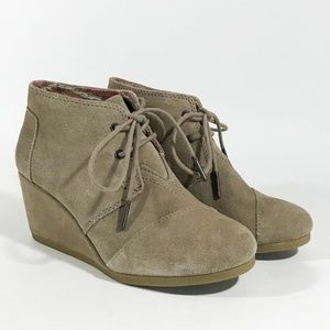 TOMS Beige Suede Lace-Up Wedges